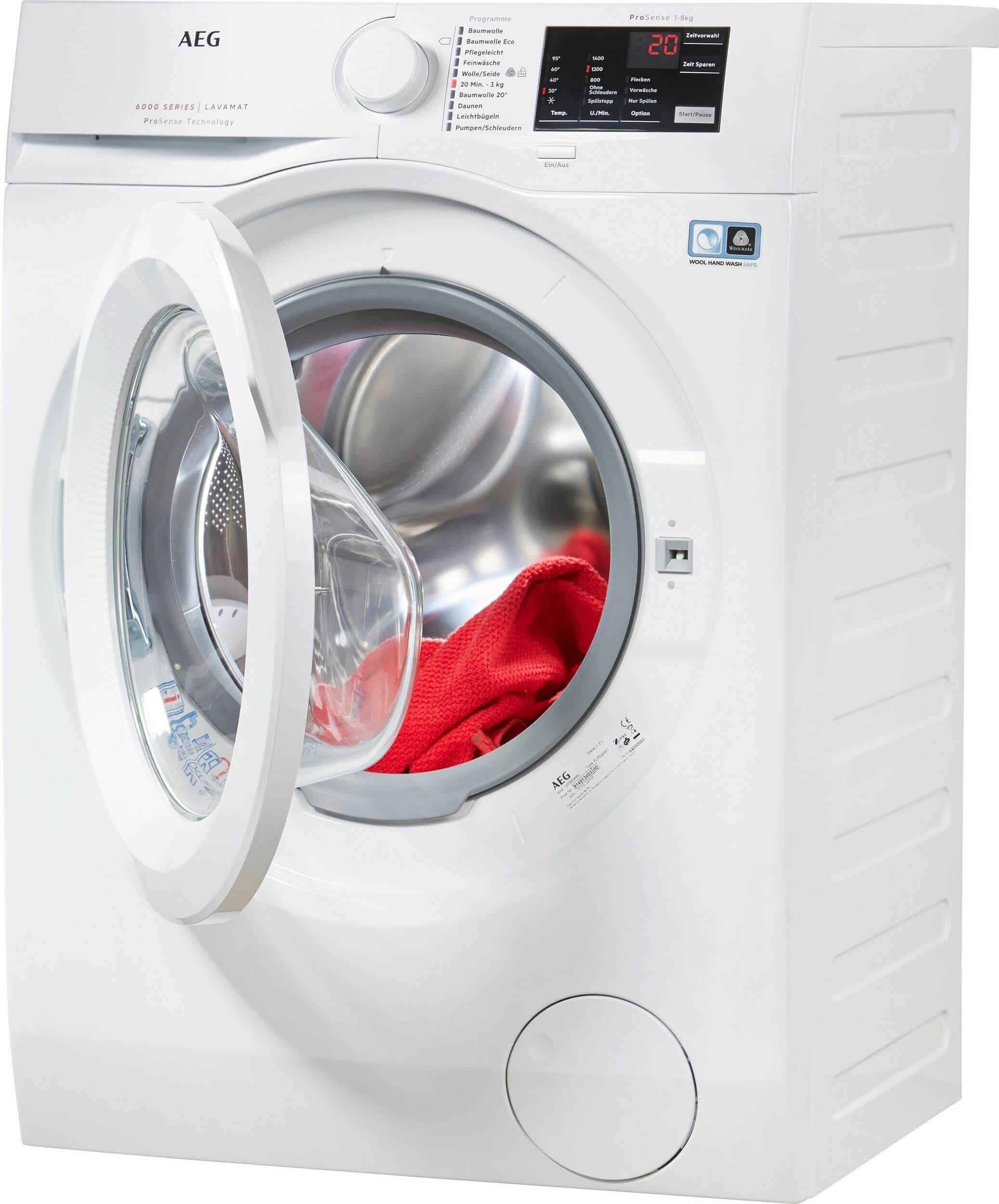 AEG L6fb54480 Moderne Waschmaschine Front Mit Geoffneter Trommel