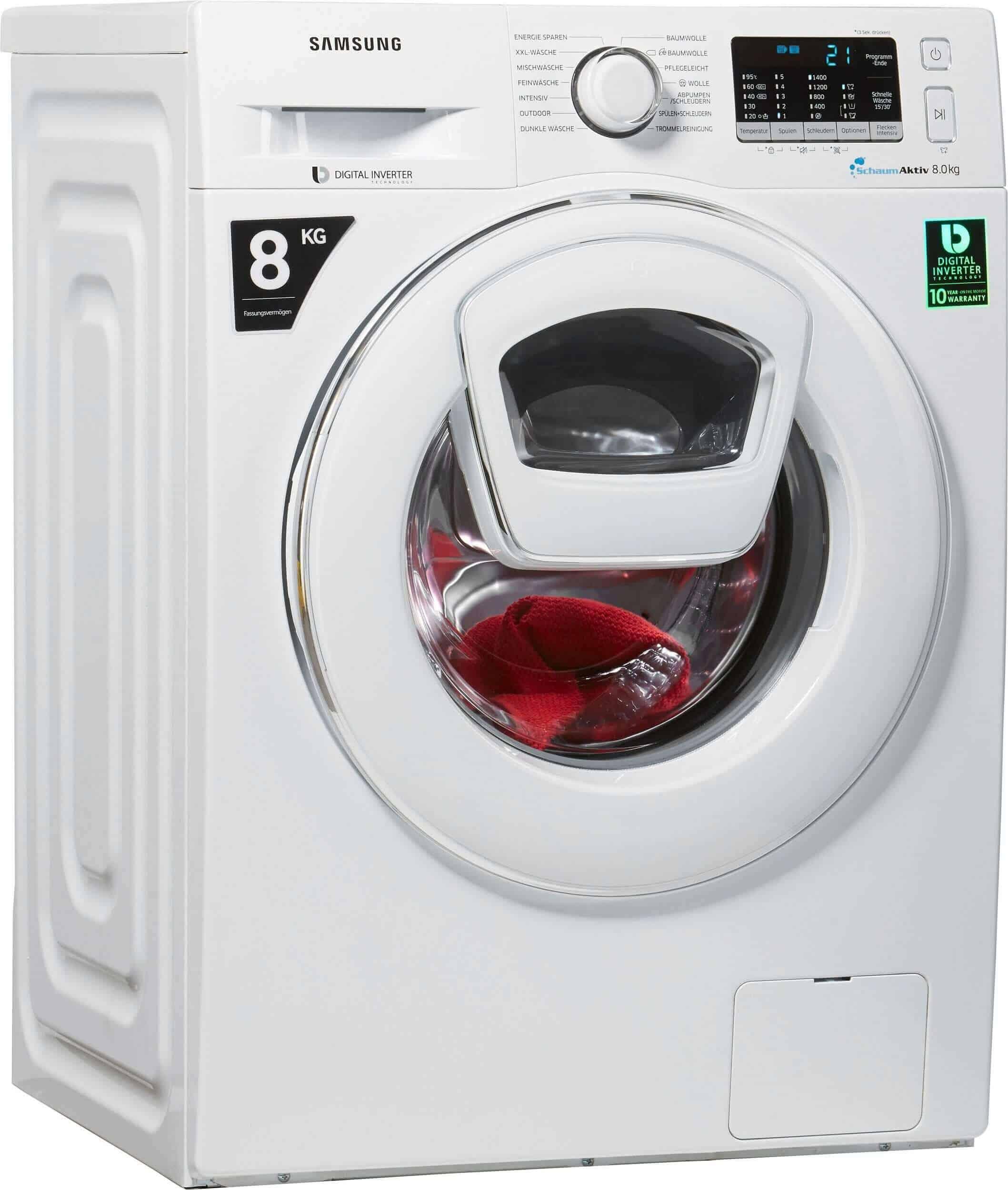 samsung ww 80 k 5400 ww eg waschmaschine im test 2018. Black Bedroom Furniture Sets. Home Design Ideas
