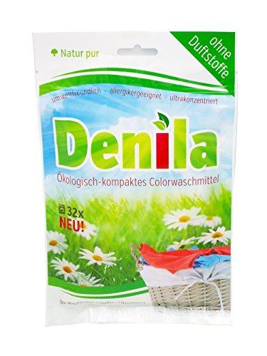 Denila, biologisches Collor Voll Waschmittel, biologisch abbaubar, Allergiker geeignet, ohne Duftstoffe, umweltschonend, umweltfreundlich - 1 Waschgang nur 3 g, optimal auf Reise