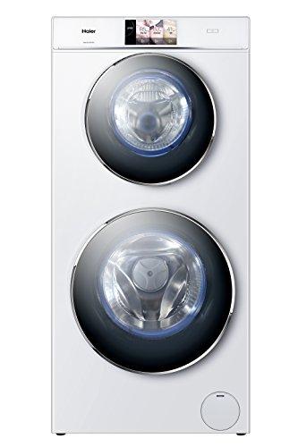 Haier HW120-B1558 Waschmaschine FL / A+++ / 198 kWh/Jahr / 1500 UpM / 12 kg / 2 Trommeln - gleichzeitiges Waschen / weiß