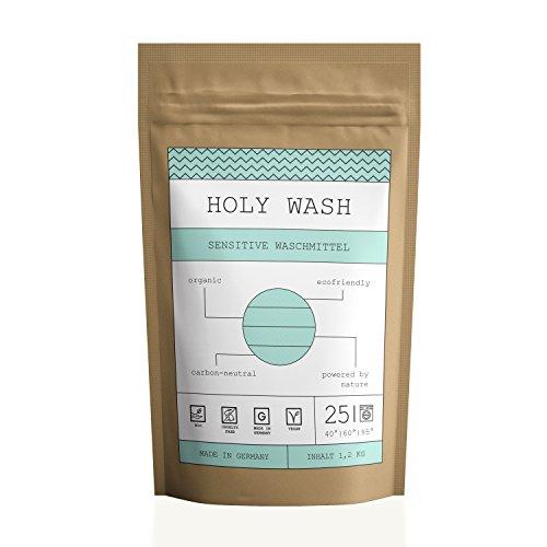 HOLY WASH Sensitive - natürliches Bio Waschpulver für empfindliche Haut und Babywäsche - 1,2 kg (25 Waschladungen) - umweltfreundlich und natürlich abbaubar - parfumfrei