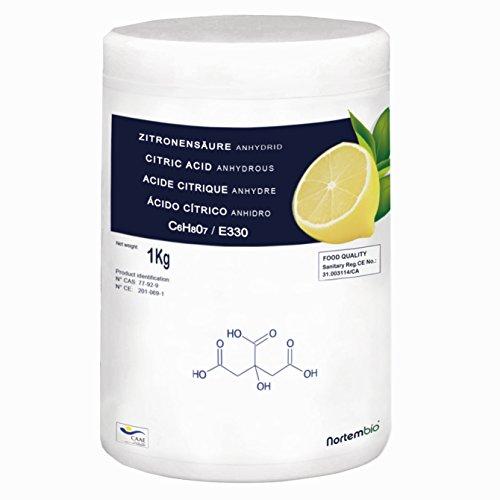 Zitronensäure 1 kg, reine Lebensmittelqualität. NortemBio. CE – Produkt