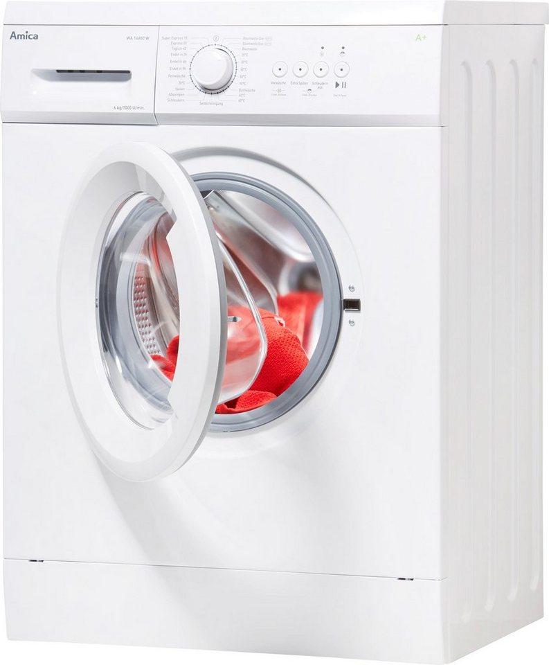 Amica Waschmaschine Slim Line WA 14680 W, 6 kg, 1000 U/Min, Unterbaufähig, inklusive Unterbaublech