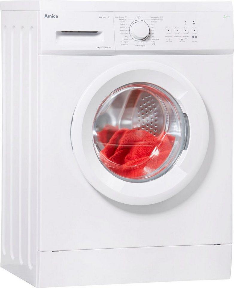 Amica Waschmaschine Slim Line WA 14681 W, 6 kg, 1000 U/Min, unterbaufähig inklusive Unterbaublech