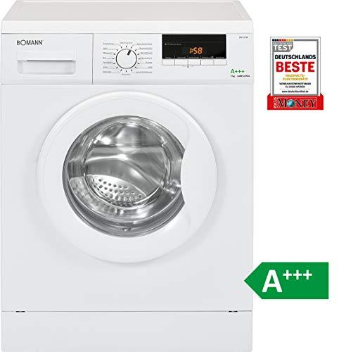 Bomann WA 5729 Waschmaschine Frontlader / EEK A+++ / 7 kg / 16 Programme / 1400 UpM / LED-Display / Schaumregulierung / weiß