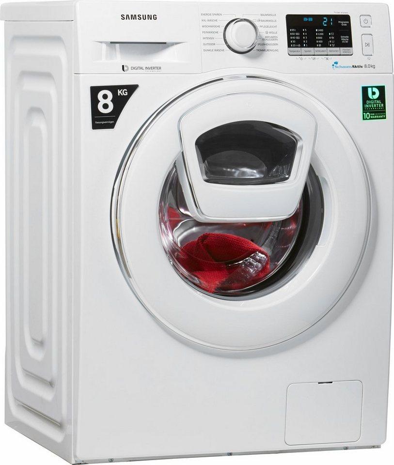 Samsung Waschmaschine AddWash WW5500 WW80K5400WW/EG, 8 kg, 1400 U/Min